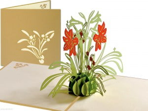 Popcards.nl carte pop-up carte de voeux fleurs jonquille jonquilles or