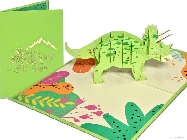 Popcards.nl carte pop-up carte de voeux triceratops dinosaure dino Jurassic Park Jurassic World