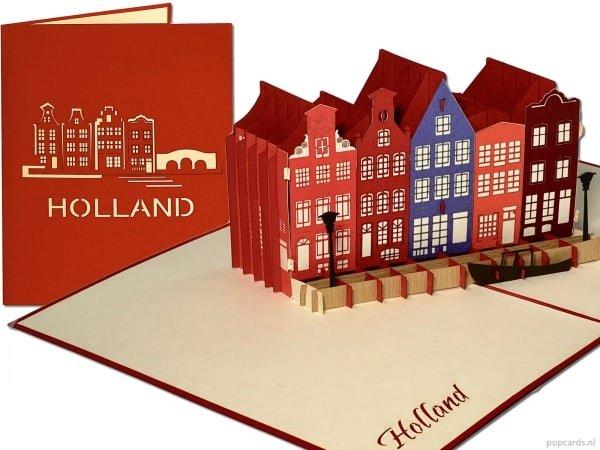Popcards.nl pop-up kaart wenskaart Amsterdam Holland grachtenhuizen gracht canals huizen Haarlem Utrecht Delft Alkmaar grachtenpanden