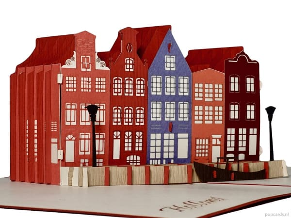 Popcards.nl pop-up kort lykønskningskort Amsterdam Holland kanalhuse kanalkanaler huse Haarlem Utrecht Delft Alkmaar postkort 3d-kort 3d-kort kanalhuse kanalhuskanaler Holland