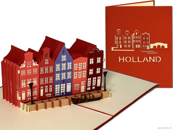 Popcards.nl pop-up card greeting card Amsterdam Holland canal houses canal canals houses Haarlem Utrecht Delft Alkmaar