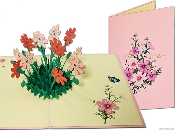 Popcards.nl pop-up card greeting card pink lilac flowers with butterflies garden flower garden