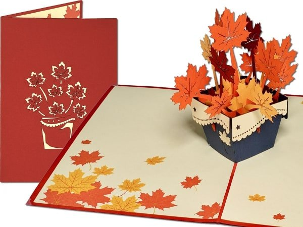 Popcards.nl pop-up card greeting card autumn fall leaves retirement seasons