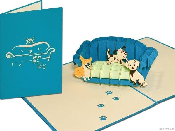 Popcards.nl pop-up üdvözlőkártya kutyák kanapén kanapén kanapén kanapén kutya szerelmese kiskutya