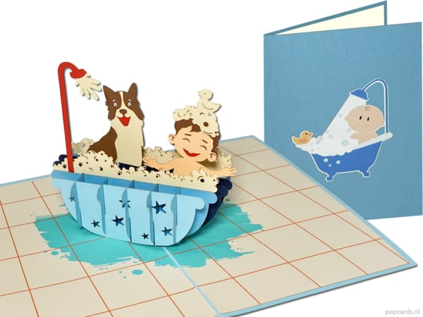 Popcards.nl pop-up card greeting card boy with dog in bathtub friendship bathing bath