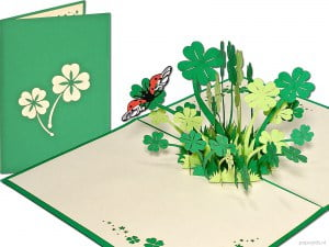 Popcards.nl pop-up card greeting card Four-leaf clover Four-leaf lucky Ireland Guinness