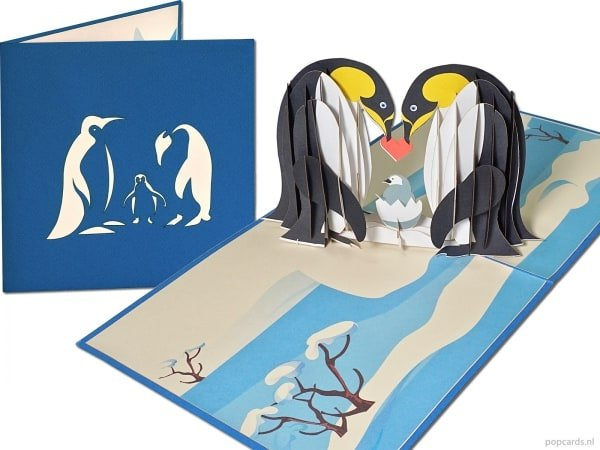 Popcards.nl pop-up kaart wenskaart pinguin pinguins met baby kind geboortekaart geboorte Antartica Zuidpool Noordpool klimaat ijsschots klimaatopwarming