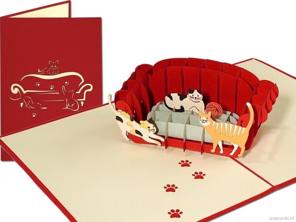 Popcards.nl pop-up card greeting card cats on a sofa cats on a sofa couch cat lover cats kittens