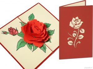 Popcards.nl pop-up card greeting card rose flower roses red rose red roses