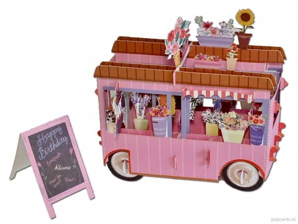 Popcards.nl pop-up card greeting card pink flower car flowers car flower shop flowers flower truck flower seller florist fleurop fleur to brighten up birthday happy birthday bouquets