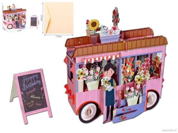 Popcards.nl pop-up card greeting card pink flower car flowers car flower shop flowers flower truck flower seller florist fleurop fleur to brighten up birthday happy birthday bouquets flower seller