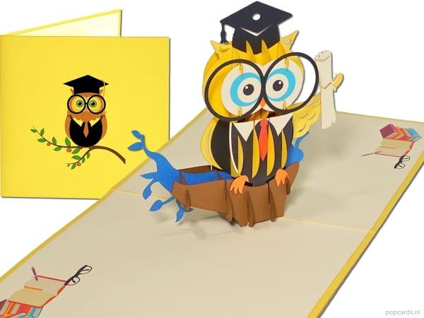 Popcards.nl pop-up kaart wenskaart wijze uil geslaagd diploma mijlpaal VWO Atheneum WO universiteit buluitreiking onderwijs rijbewijs