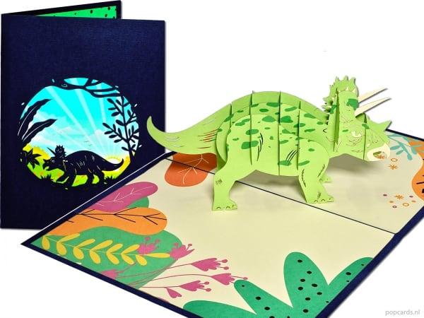 Popcards.nl pop-up kort lykønskningskort triceratops dinosaur dino Jurassic Park Jurassic World