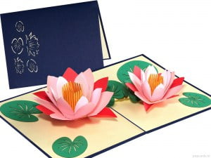 Popcards.nl pop up card Carte pop up fleur de lotus