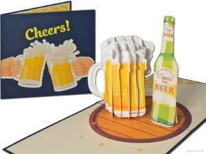 Popcards.nl pop up card beer tankard beer glass cheers cheers cheers greeting card 3D card