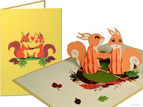 Popcards.nl pop up card squirrel in love squirrels forest autumn love greeting card 3D card