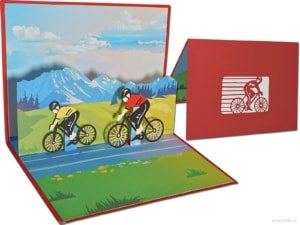 Popcards.nl pop-up card bicicletta ciclisti mountain bike bici ciclisti tappe in bicicletta alpe d'HuZes tour de France biglietto di auguri 3D card