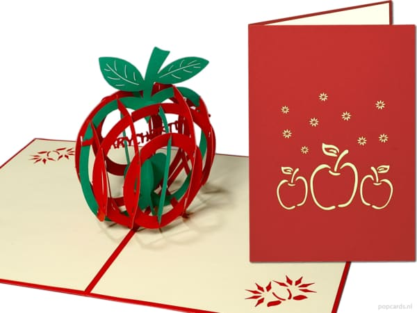 Popcards.nl pop up card Christmas apple star apple Christmas Christmas card 3D card