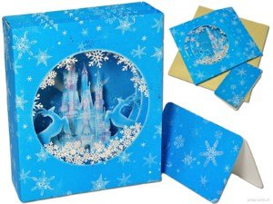 Popcards.nl pop up-kort Julekort isborg Frozen Disney castle 3D-kort