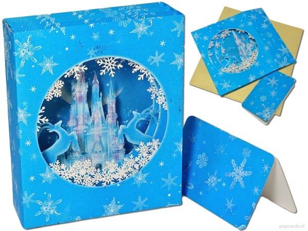 Popcards.nl carte pop-up Carte de Noël Château de glace Carte 3D du château de Disney congelé