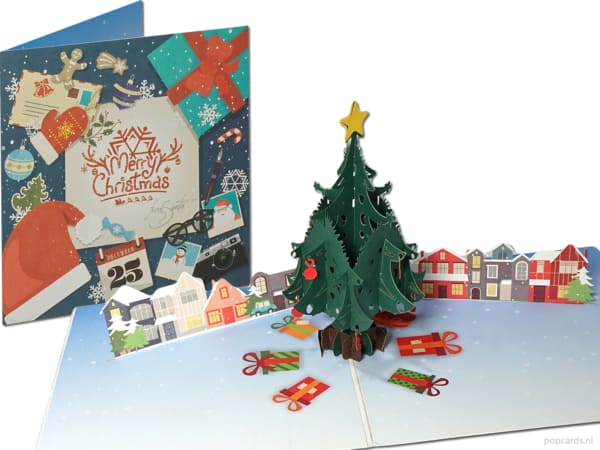 Popcards.nl pop-up card Christmas card metropolis Christmas tree presenta 25 dicembre Christmas 3D card