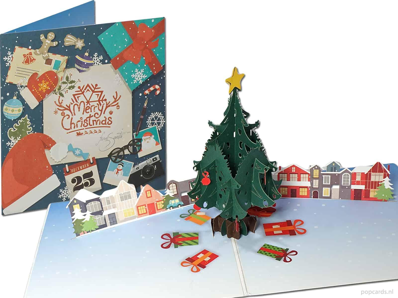 Albero Di Natale Con Regali.Albero Di Natale Con Regali E Case Cartolina Di Natale Pop Up