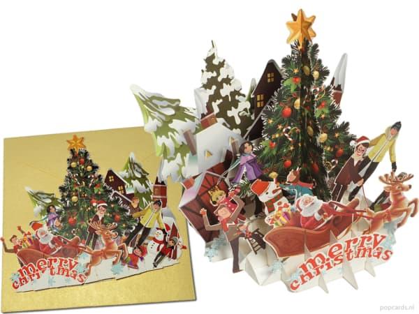 Popcards.nl Popup-Karte Weihnachtsfeier Weihnachtsfeier Weihnachtsbaum Party Weihnachtskarte 3D-Karte