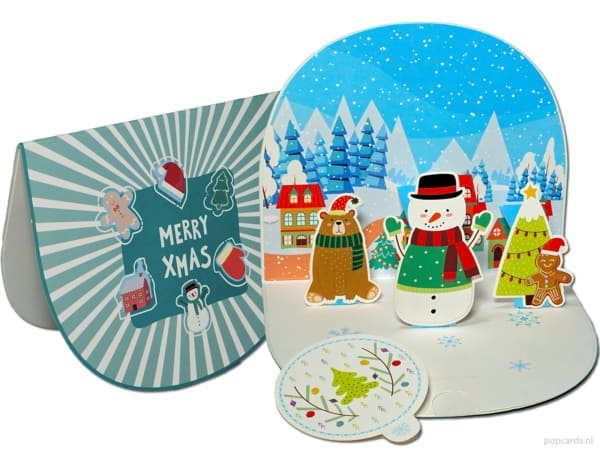 Popcards.nl pop up card set of 4 different Christmas cards bear snowman santa claus santa penguin polar bear 3D card