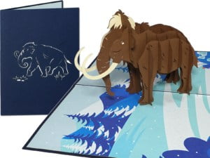 Popcards.nl pop up card mammoth Mammuthus elephant elephants Pleistocene greeting card 3D card
