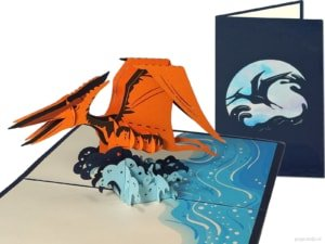 Popcards.nl pop up card dino flying dinosaur pterosauria Pterosaur pterodactylus bird Archosauromorpha greeting card 3D card
