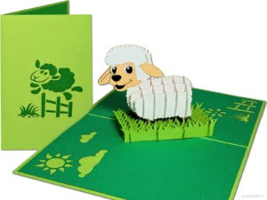 Popcards.nl carte pop-up mouton mouton agneau agneau printemps carte de voeux carte 3D