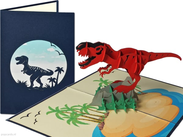 Popcards.nl pop up kaart t-rex dinosaurus tyrannosaurus jurassic park