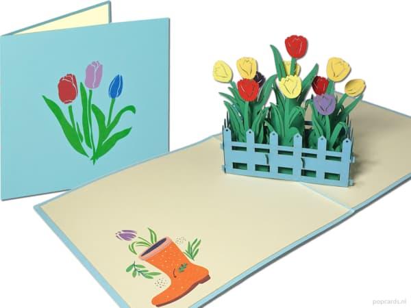 Popcards.nl pop-up card flowers tulips tulip tulip bulbs Tulipa greeting card 3D card