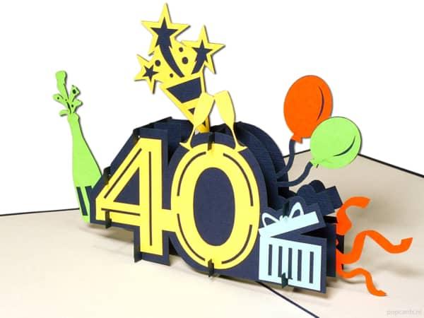 Popcards.nl pop-up-kort gratulasjonskort 40 år bursdagskort bursdag bursdag 40 år jubileum store tall nummer 40