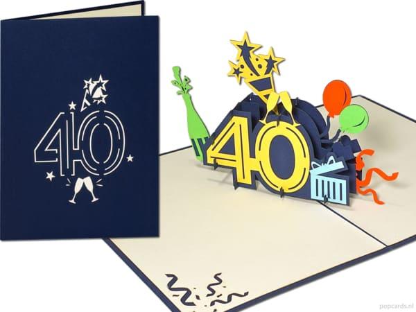 Popcards.nl tarjeta emergente tarjeta de felicitación 40 años tarjeta de cumpleaños cumpleaños cumpleaños 40 años aniversario números grandes número 40