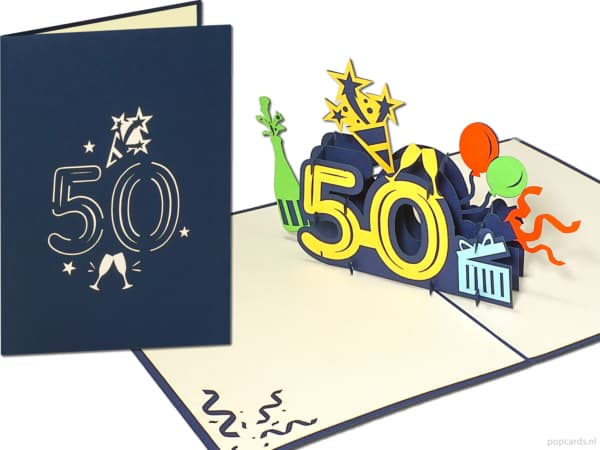 Popcards.nl pop-up card greeting card 50 years birthday card anniversary birthday 50 years anniversary large numbers number 50