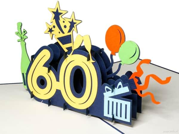 Popcards.nl pop-up-kort gratulasjonskort 60 år bursdagskort bursdag bursdag 60 år jubileum store tall nummer 60