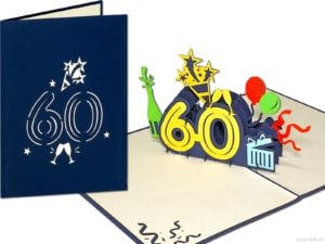 Popcards.nl pop-up card greeting card 60 years birthday card birthday birthday 60 years anniversary large numbers number 60
