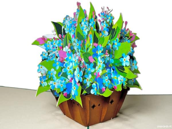 Popcards.nl pop-up kort gratulationskort blå liljor glöm mig nots lilja blommor blomma korg 3D-kort