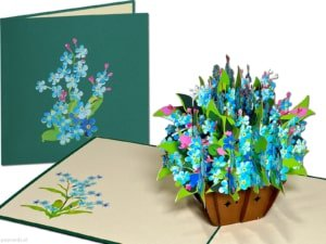 Popcards.nl pop-up card greeting card blue lilies forget me nots lily flowers flower basket 3D card