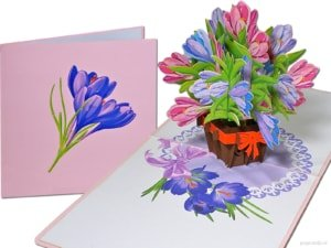 Popcards.nl pop-up card greeting card crocus crocuses flowers flower basket flower vase 3D card