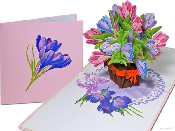 Popcards.nl pop-up kaart wenskaart krokus krokussen bloemen bloemenmandje bloemenvaas 3D kaart