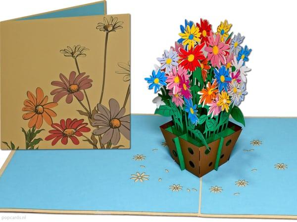 Popcards.nl pop-up-kort gratulasjonskort bukett tusenfryd tusenfryd blomster blomsterkurv 3D-kort