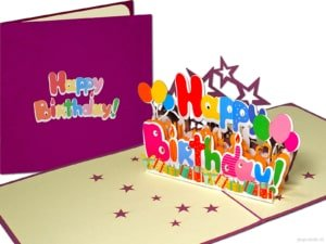 Pop cards popup cards - happy birthday letters words happy birthday celebration big letters 3d card