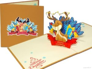 Popcards popupkaarten – rudolph rudolf the red nose reindeer rendier kerstman hert kersthert rendieren kerstkaart pop-up kaart