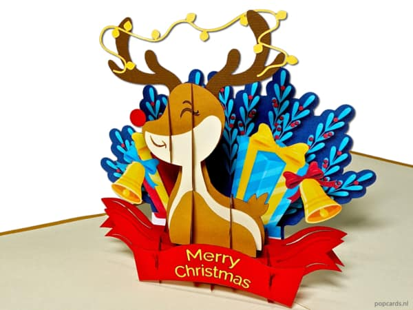 Pop cards popup cards - rudolph rudolf reindeer santa claus deer christmas deer reindeer christmas card pop up card
