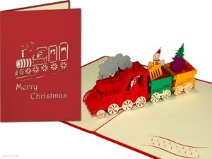 Pop cards popup cards - christmas card train merry christmas train christmas train wreath 3d card