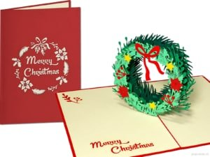 Pop cards popup cards - Christmas card Christmas wreath wreath 3d card