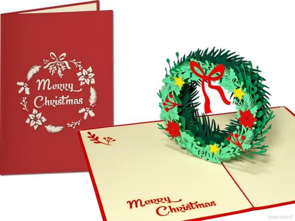 Popcards popupkaarten – kerstkaart kerstkrans krans 3d kaart