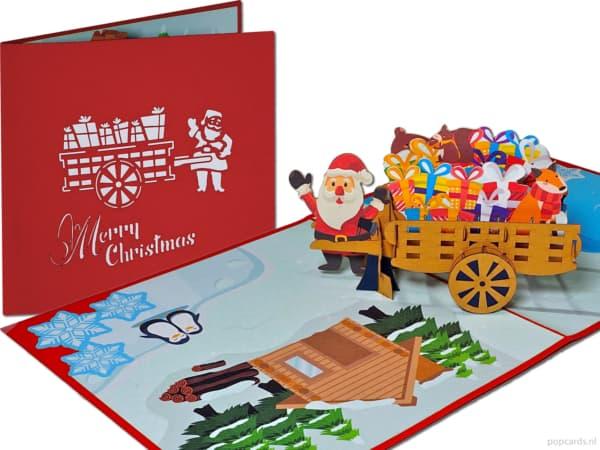 Popcards popupkaarten – vrolijke kerstman met handkar kar vol cadeautjes kerstkaart pop-up kaart